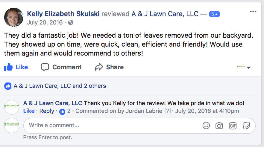 Review from Kelly about our Lawn Care services in Derry NH