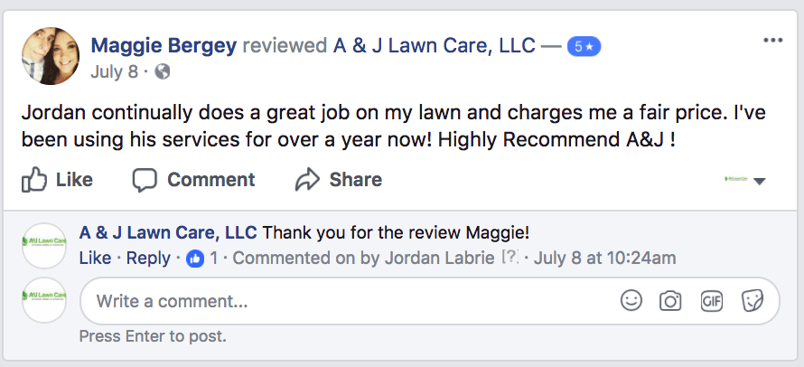 Picture of a review from Maggie from regarding Lawn Care near Manchester NH