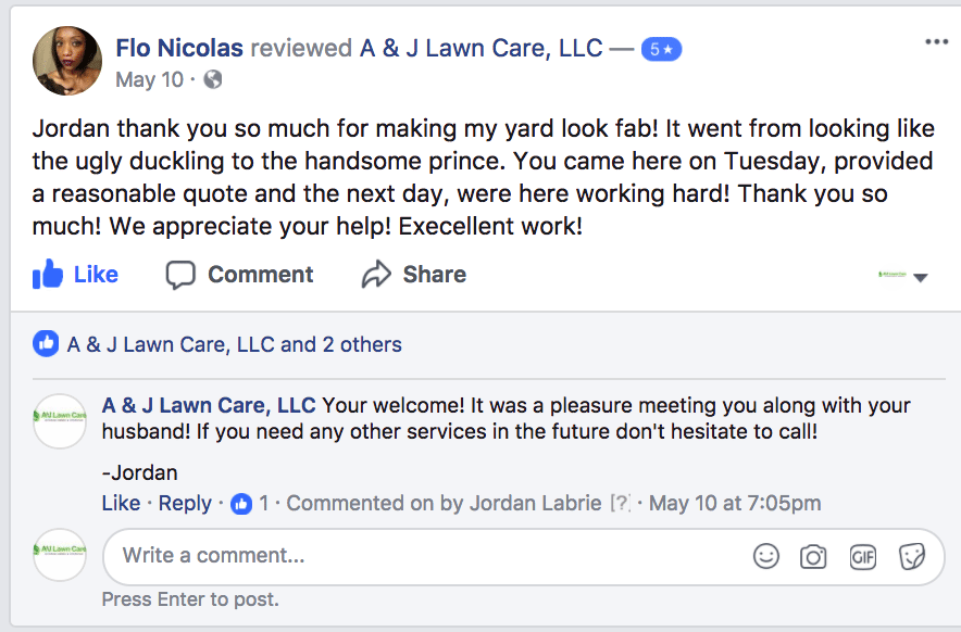 Review from Flo Nicolas from Facebook talking about grass cutting and lawn care service in Manchester NH