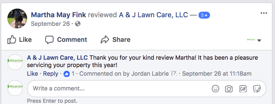 Martha from Hooksett NH Lawn Care Review