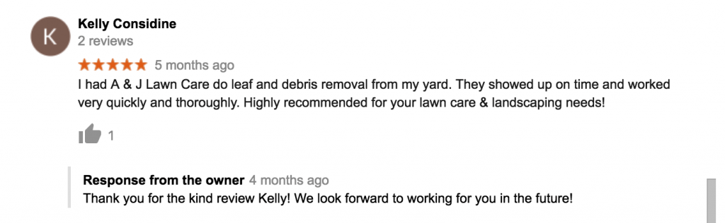 Kelly review of leaf removal service in Manchester NH
